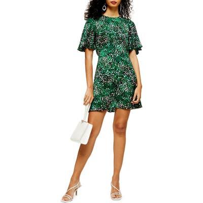 Topshop Austin Print Minidress, US (fits like 10-12) - Green