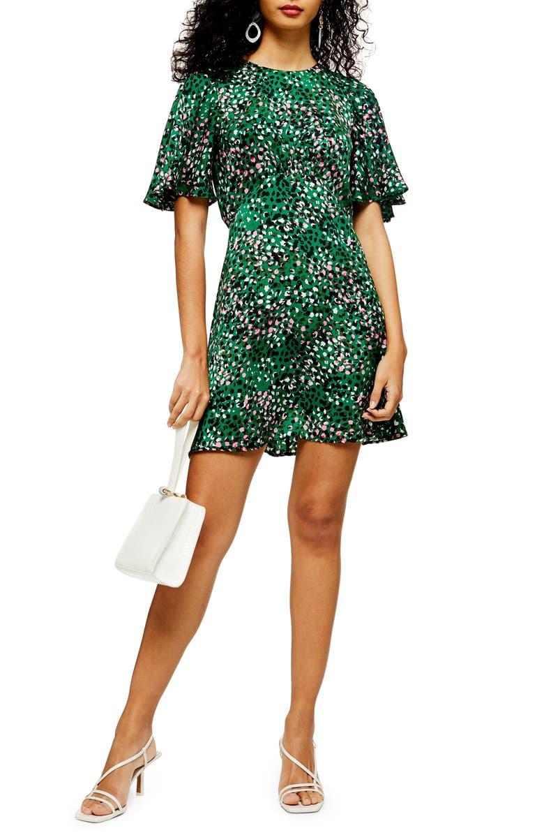 TOPSHOP Austin Print Minidress, Main, color, GREEN
