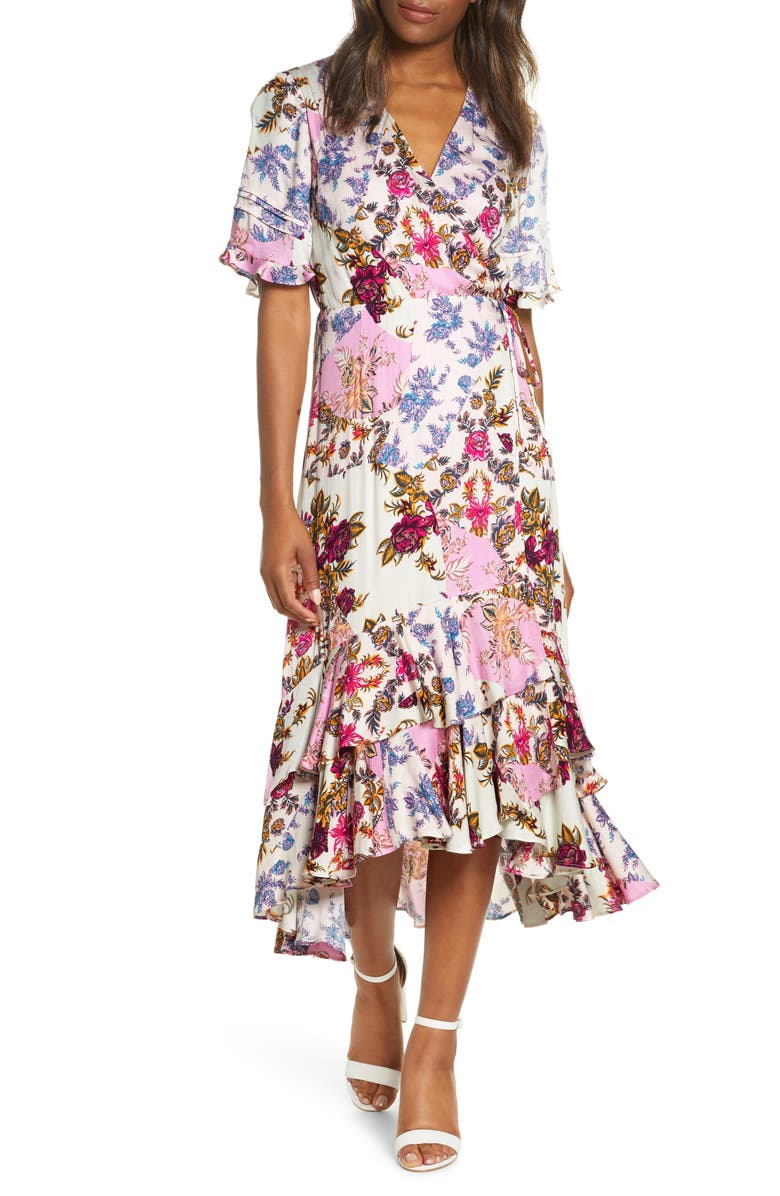 ADELYN RAE Abbi Mixed Floral Wrap Dress, Main, color, 680