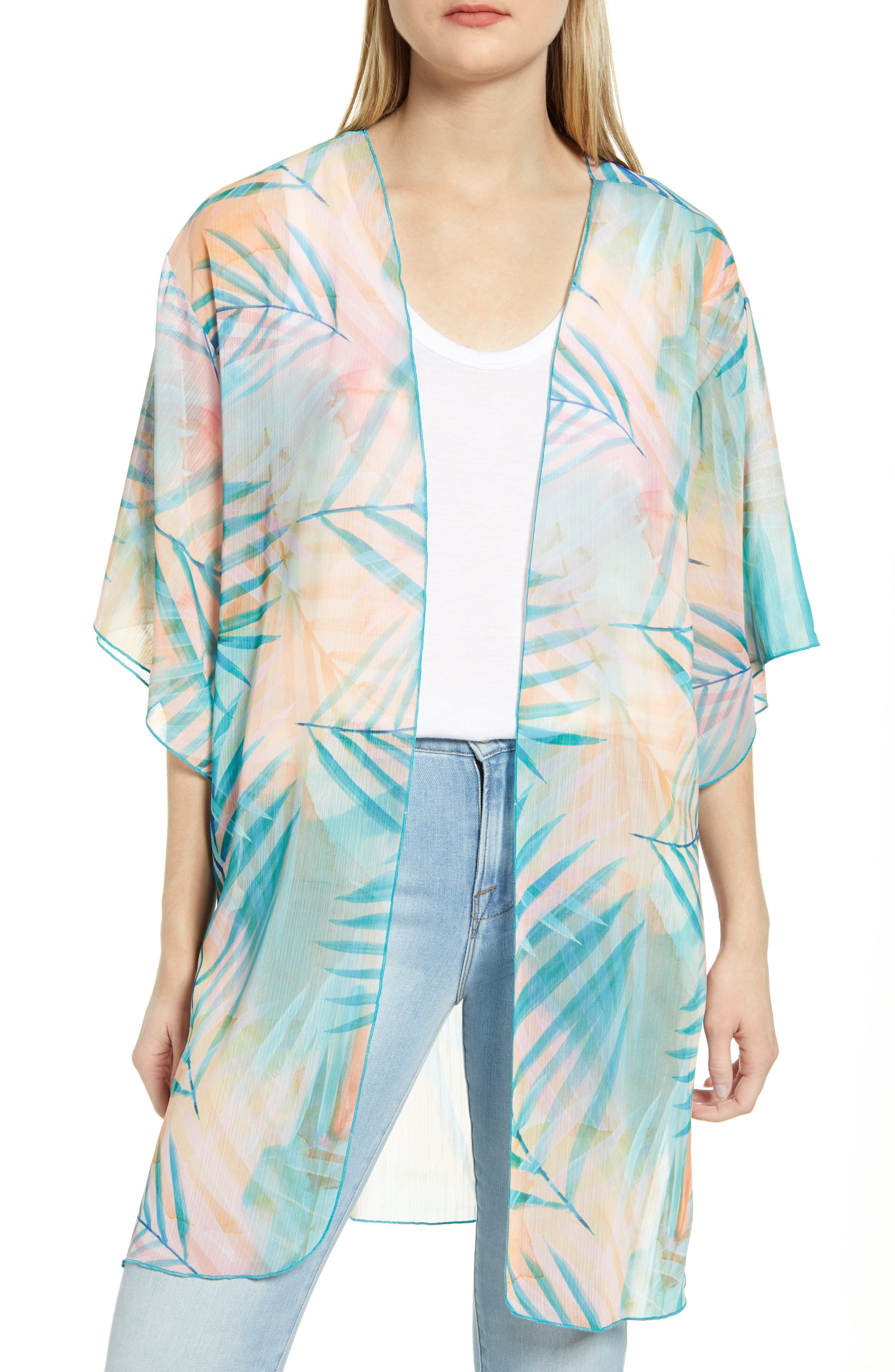 A dreamy palm print enlivens this light and airy overlay designed with a versatile open front. Style Name: Wit & Wisdom Palm Print Open Front Cardigan. Style Number: 6059558. Available in stores.