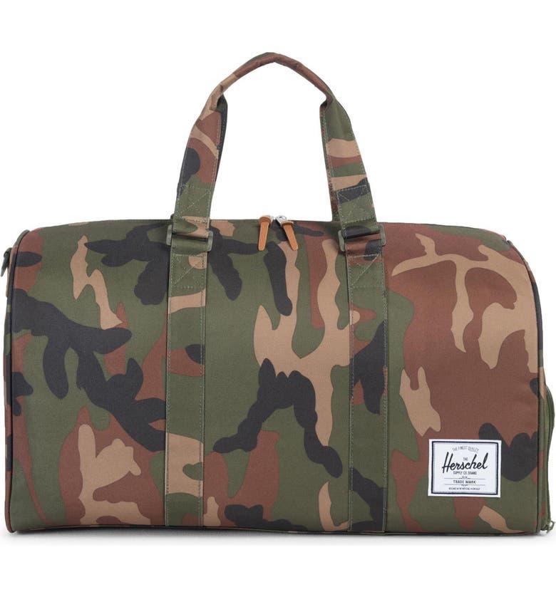 HERSCHEL SUPPLY CO. Novel Duffle Bag, Main, color, WOODLAND CAMO/ MULTI ZIP