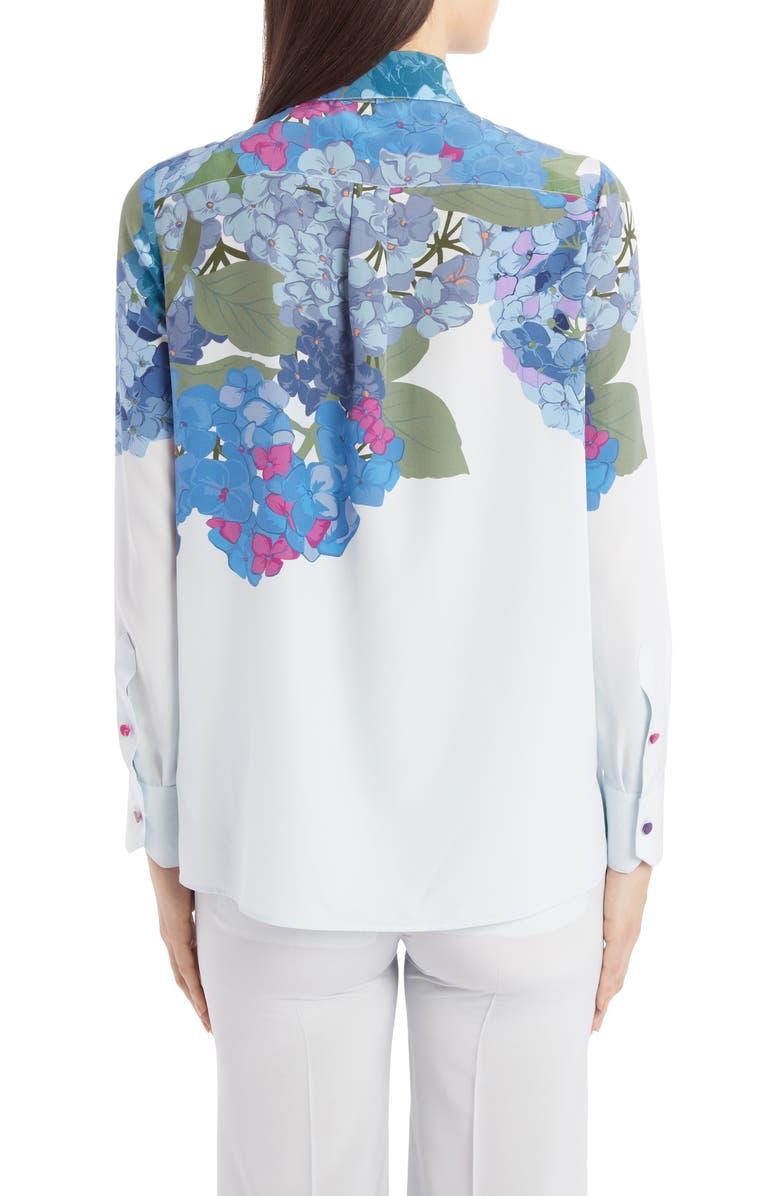 VALENTINO Hydrangea Print Silk Crêpe de Chine Tie Neck Blouse, Main, color, 400