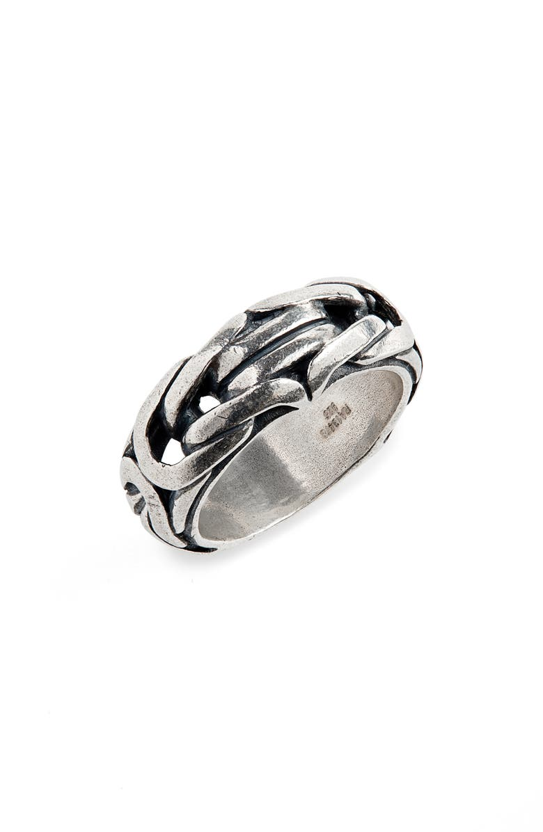 JOHN VARVATOS Chain Ring, Main, color, METALLIC SILVER