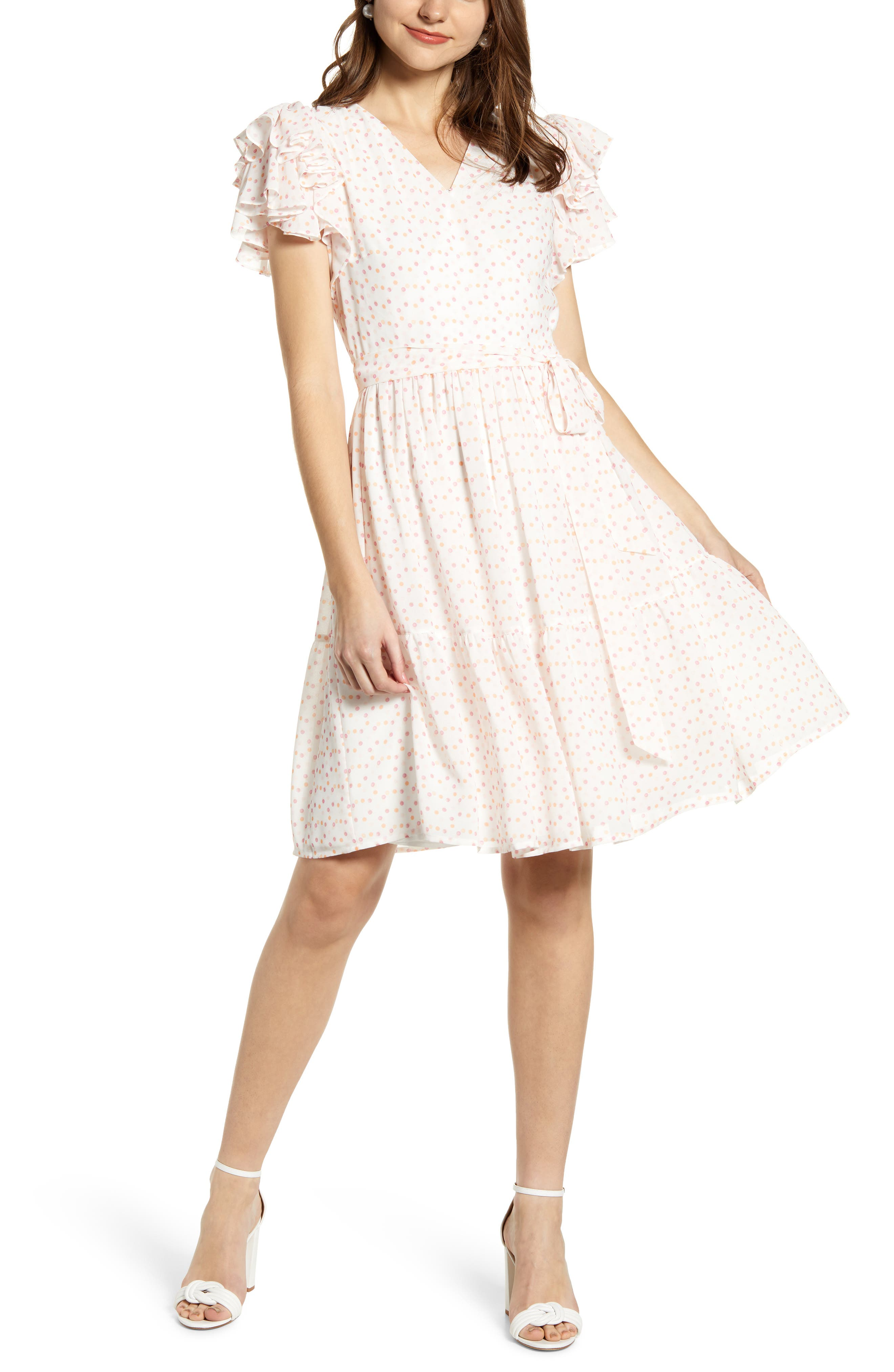 ,                             Tiered Ruffle Sleeve Dress,                             Alternate thumbnail 2, color,                             WHITE PAINTED DOT