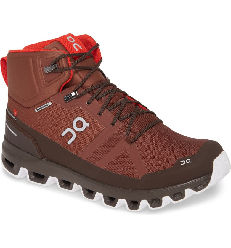 ON Cloudrock Waterproof Hiking Boot, Main, color, COCOA/ RED