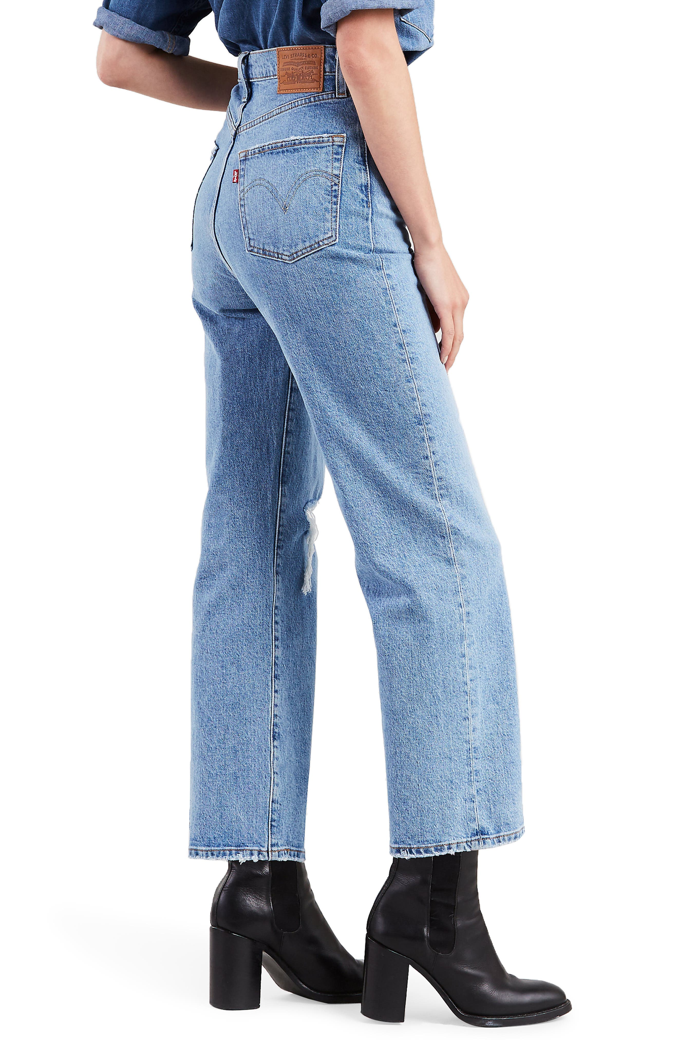 ,                             Ribcage High Waist Straight Leg Jeans,                             Alternate thumbnail 3, color,                             400