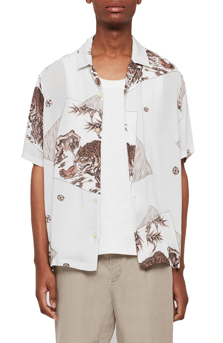ALLSAINTS Hakone Slim Fit Camp Shirt, Main, color, GREY