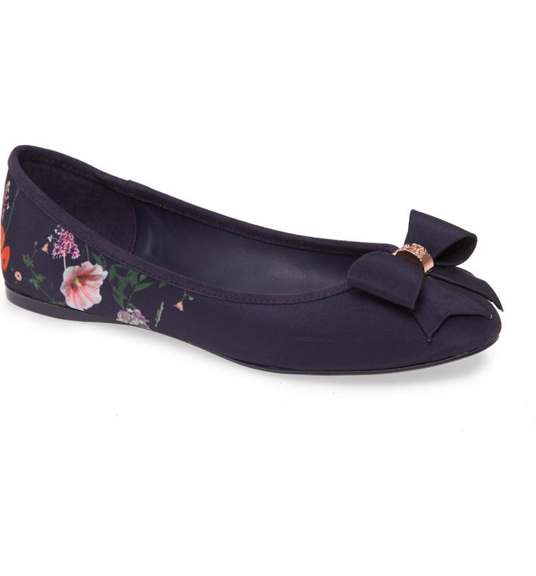 TED BAKER LONDON Sually Flat, Main, color, NAVY HEDGEROW SATIN