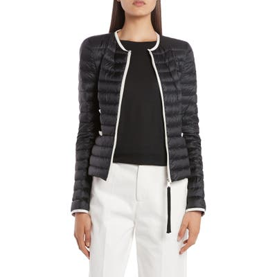 Moncler Baillet Contrast Trim Down Puffer Jacket, (fits like 6-8 US) - Black