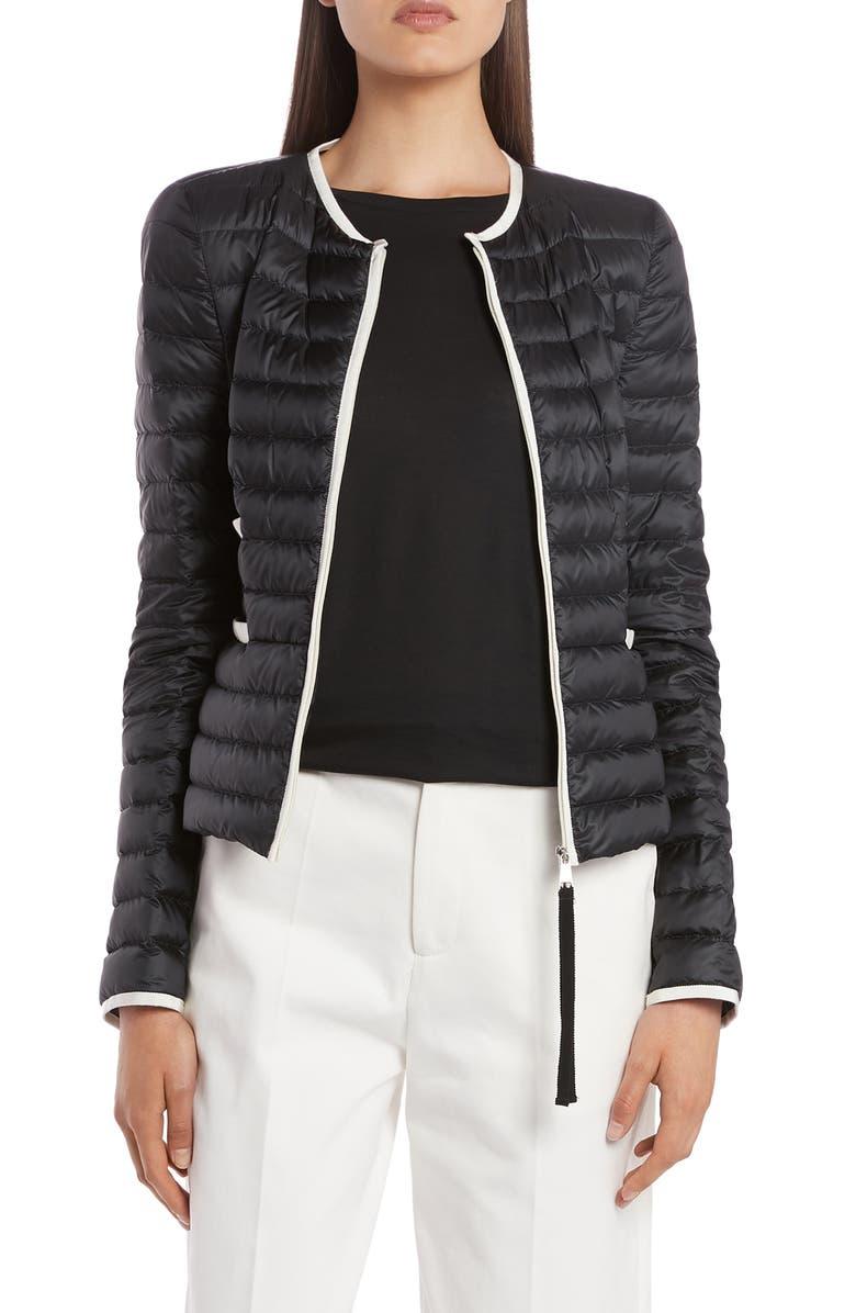 MONCLER Baillet Contrast Trim Down Puffer Jacket, Main, color, BLACK