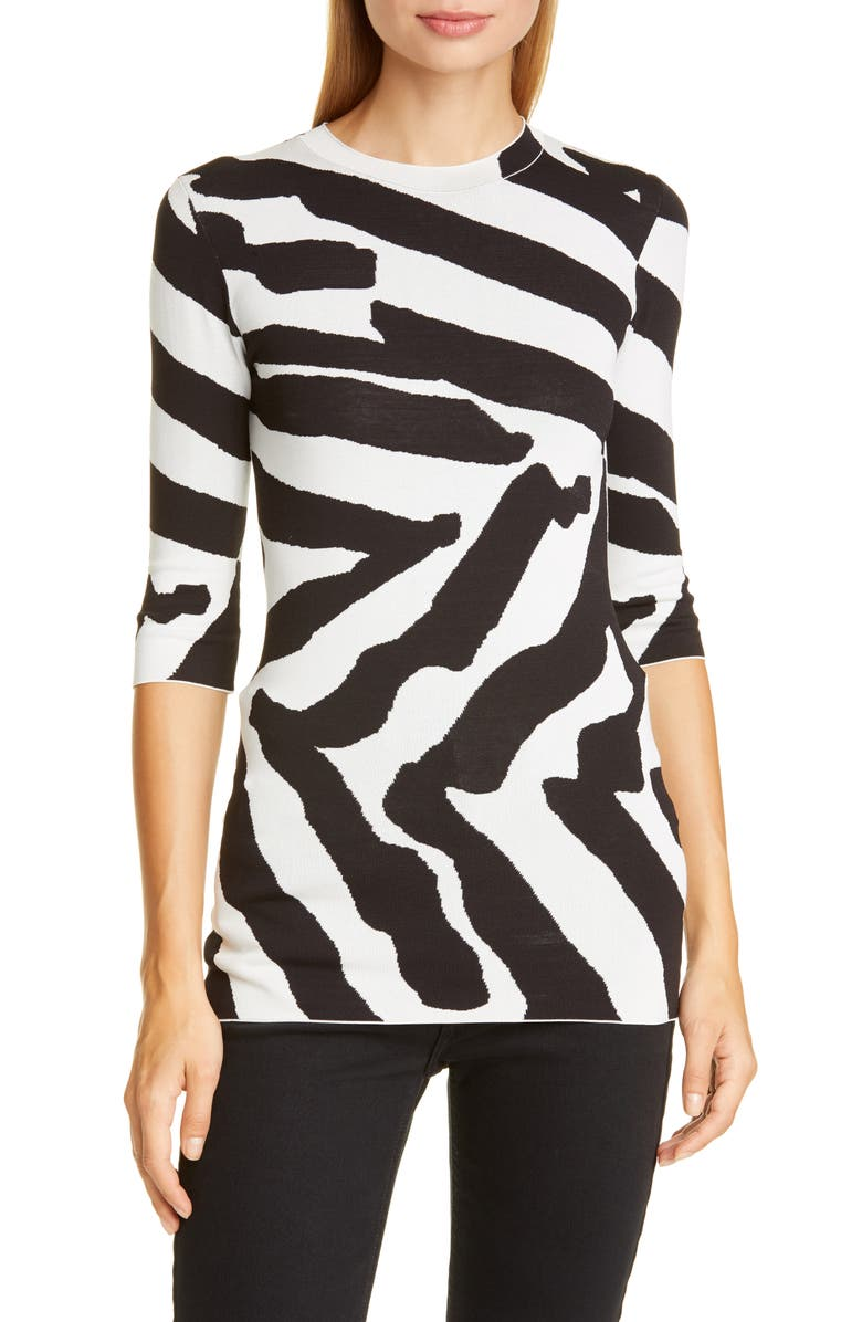PROENZA SCHOULER Animal Pattern Sweater, Main, color, SNOW/ BLACK