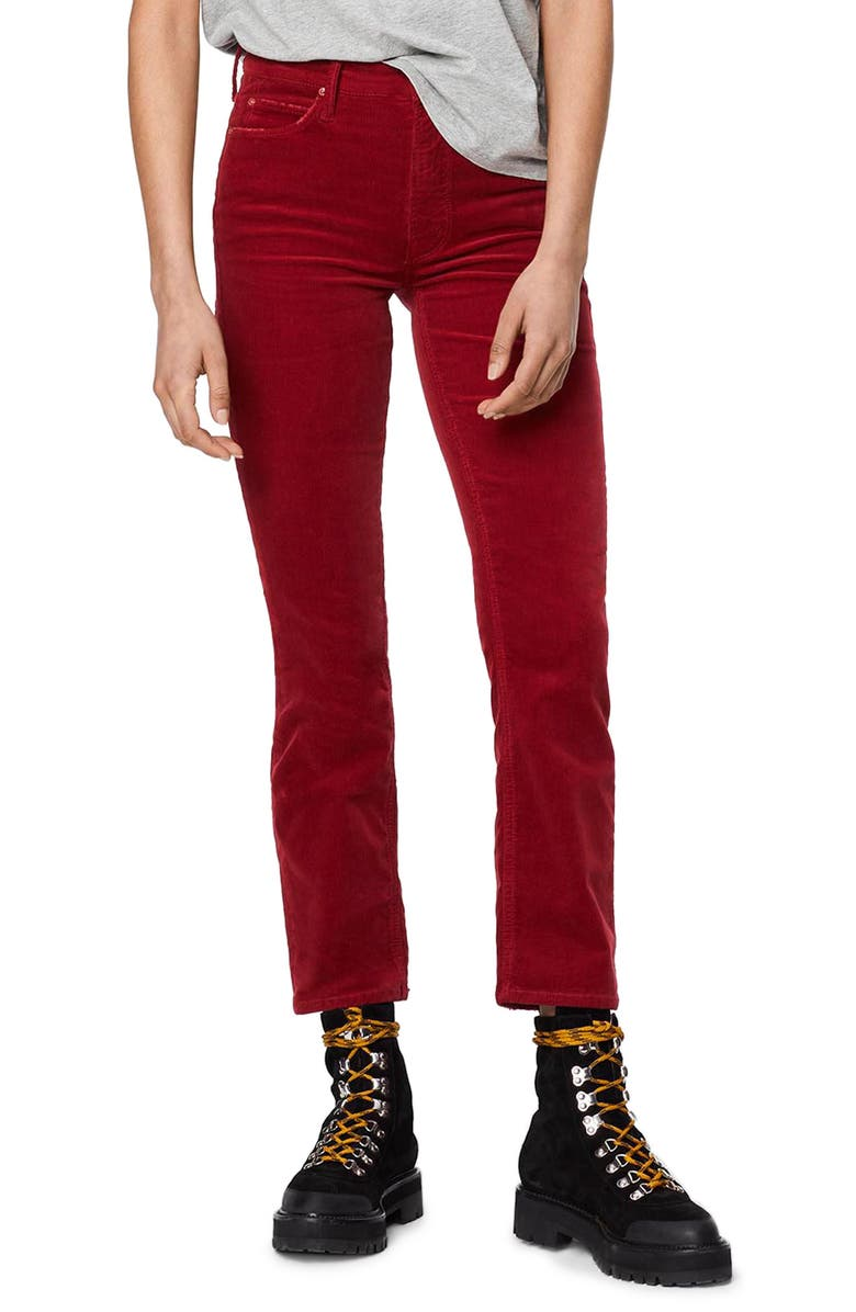 MOTHER The Dazzler High Waist Ankle Straight Leg Jeans, Main, color, GARNET
