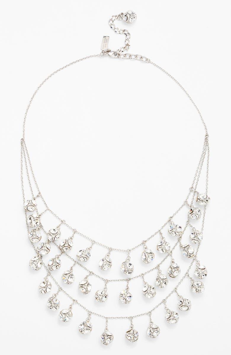 KATE SPADE NEW YORK mini fringe bib necklace, Main, color, CLEAR/ ANTIQUE SILVER