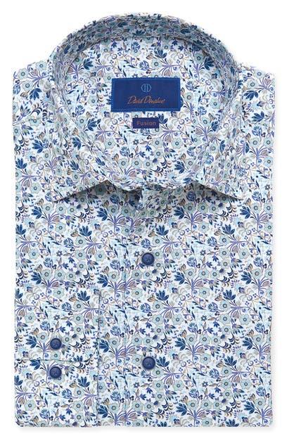 David Donahue Cottons FUSION FLORAL DRESS SHIRT