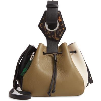 Ganni Triangle Drawstring Leather Bag - Ivory