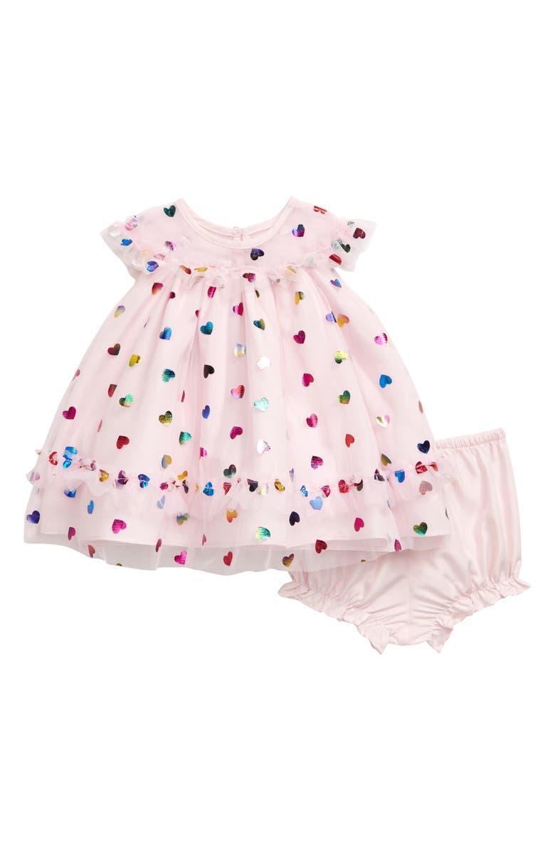 PIPPA & JULIE Foil Hearts Dress, Main, color, 650