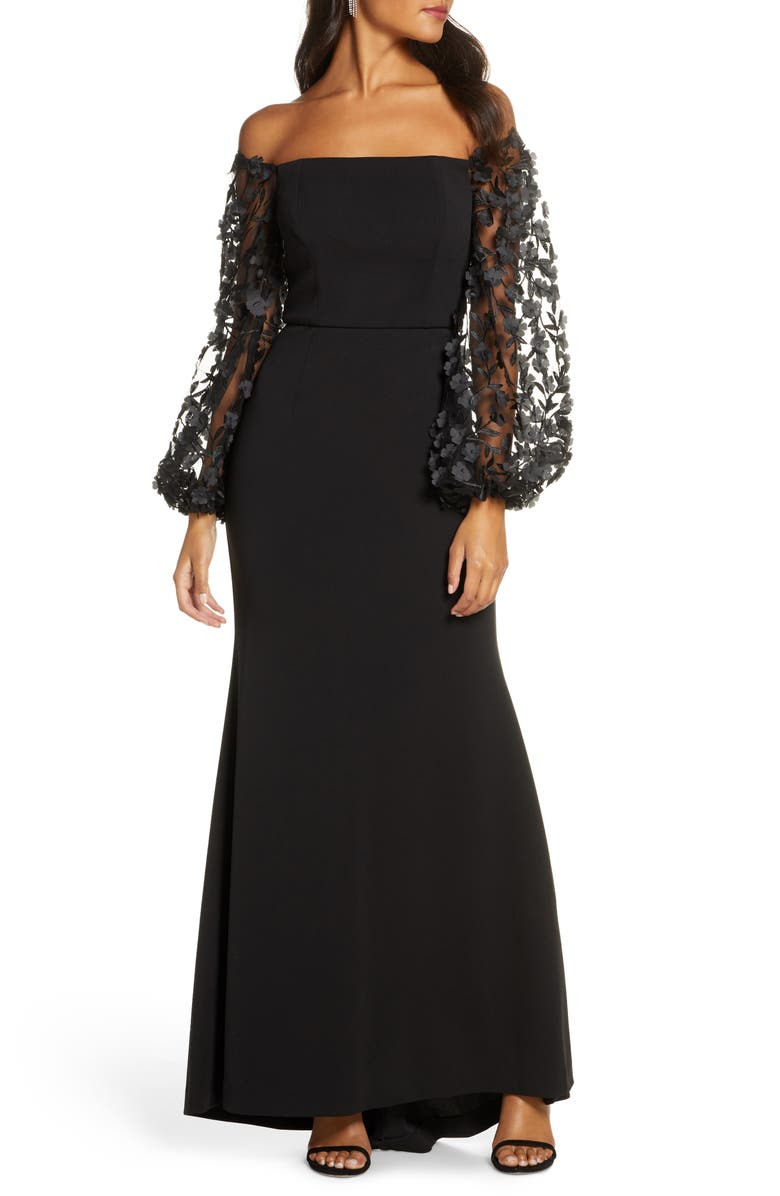 ELIZA J Off the Shoulder 3D Floral Sleeve Scuba Crepe Evening Dress, Main, color, BLACK