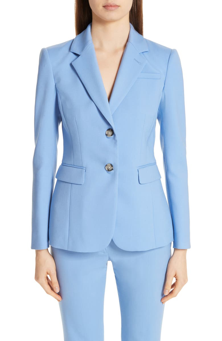 ALTUZARRA Fitted Two-Button Stretch Wool Blazer, Main, color, 400