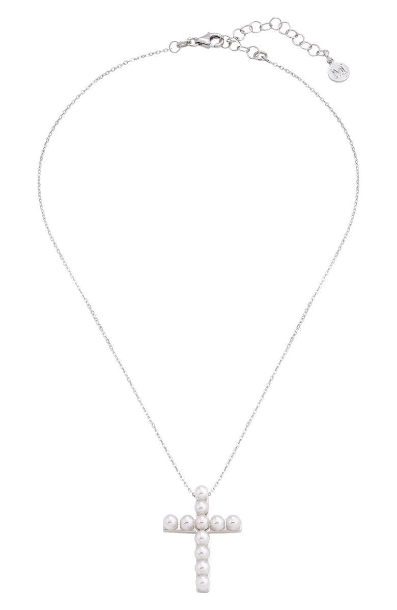 MAJORICA Simulated Pearl Cross Pendant Necklace, Main, color, 100