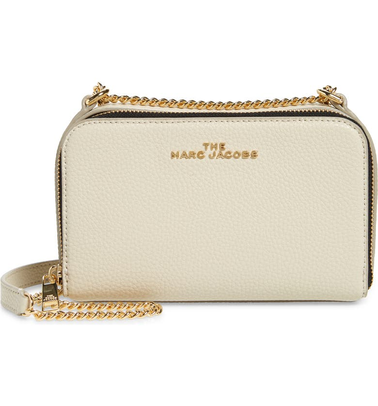THE MARC JACOBS Leather Crossbody Bag, Main, color, OATMILK