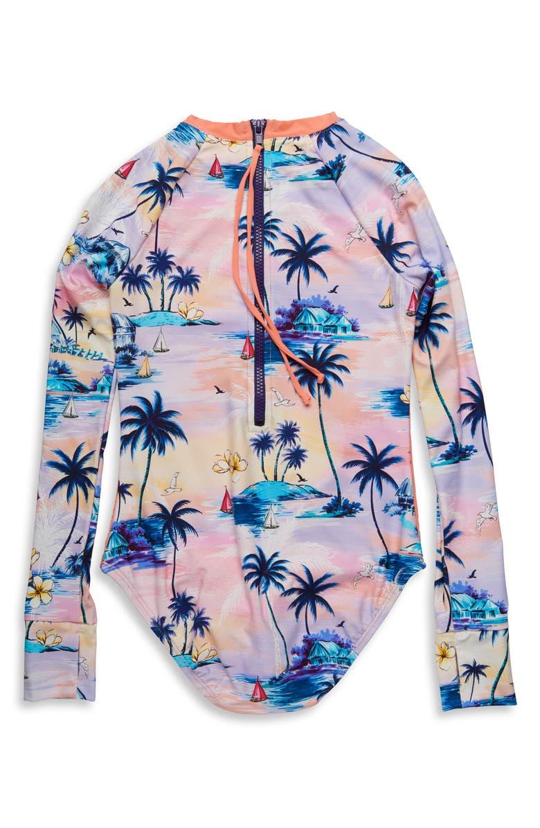 HOBIE Island Dream One-Piece Rashguard Swimsuit, Main, color, MULTI