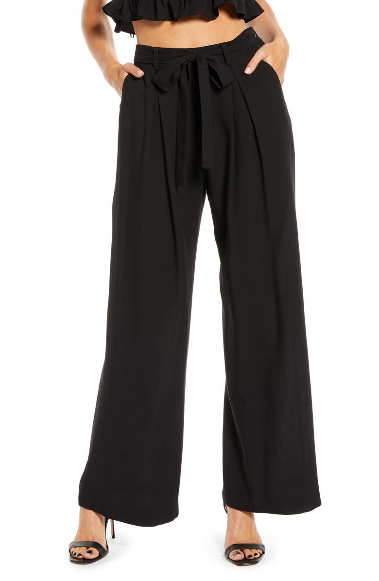 ENGLISH FACTORY Belted Wide Leg Pants, Main, color, BLACK