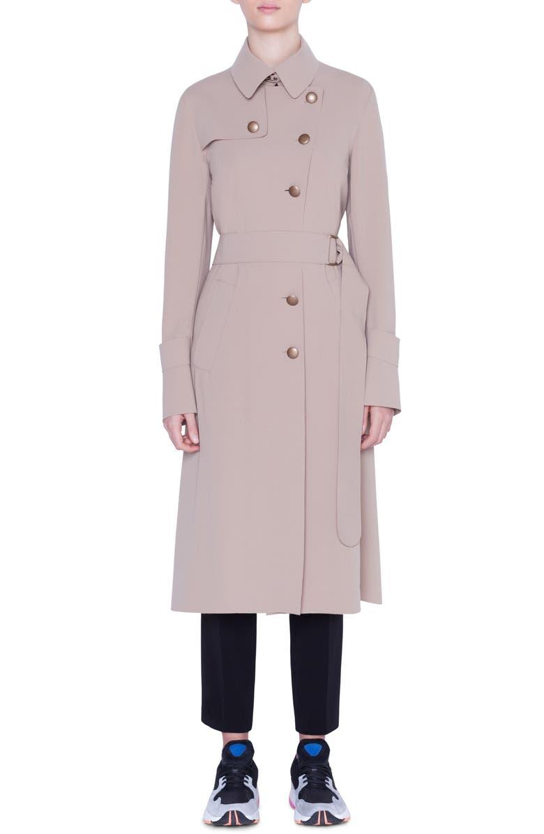 AKRIS PUNTO Crepe Trench Coat, Main, color, CAMEL