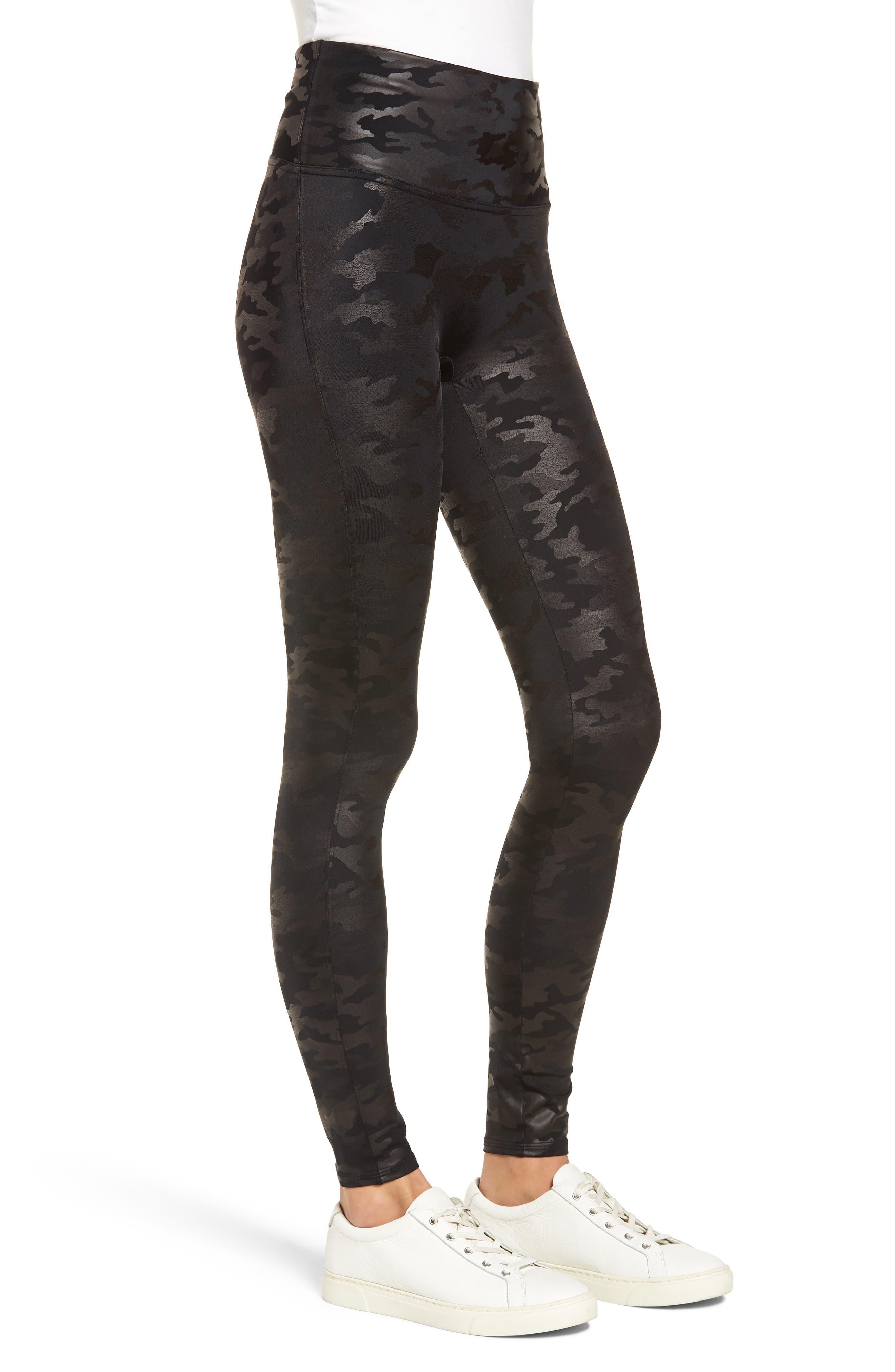 ,                             Camo Faux Leather Leggings,                             Alternate thumbnail 4, color,                             MATTE BLK CAMO