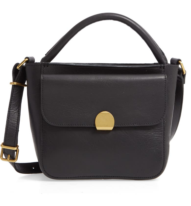 MADEWELL The Mini Abroad Leather Crossbody Bag, Main, color, TRUE BLACK