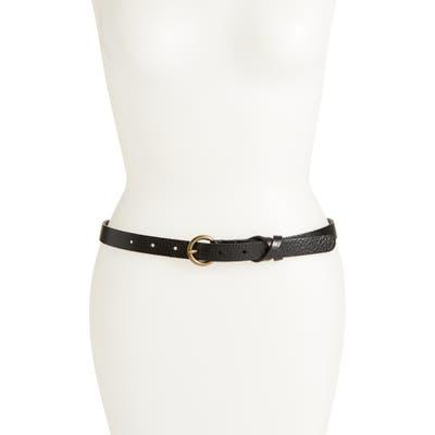 Plus Size Frye Flat Panel Skinny Leather Belt, Black