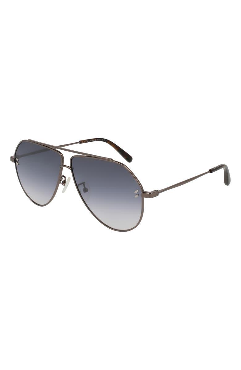 STELLA MCCARTNEY 60mm Aviator Sunglasses, Main, color, RUTHENIUM
