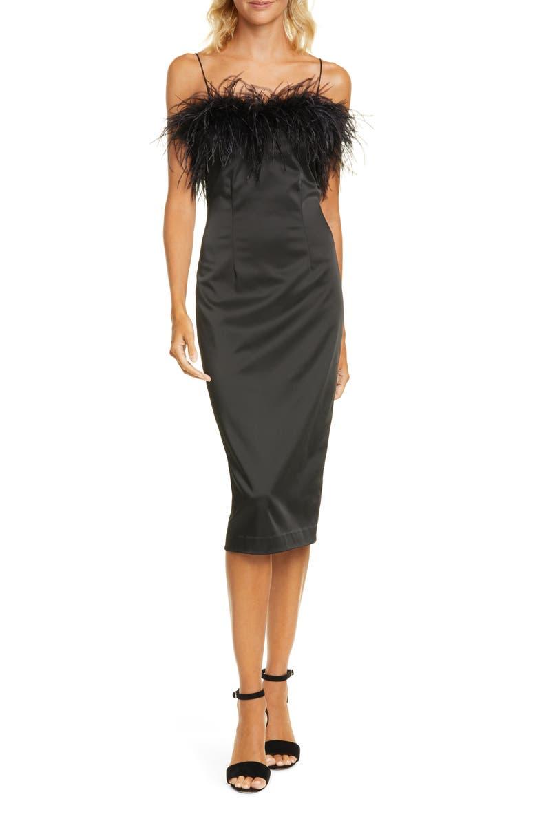 VERONICA BEARD Lilya Feather Trim Satin Dress, Main, color, BLACK
