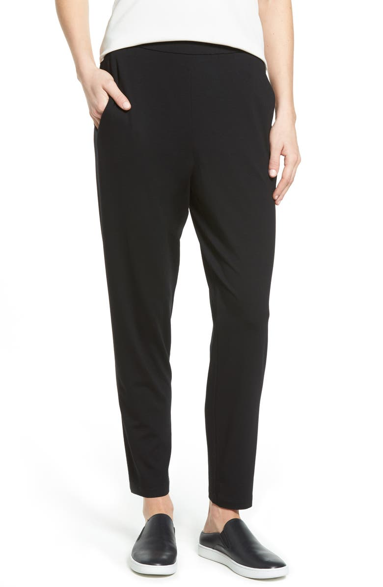 EILEEN FISHER Crop Stretch Knit Pants, Main, color, BLACK