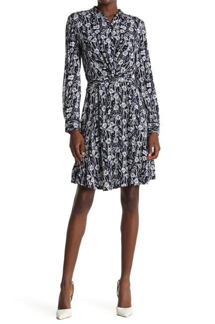 Image of Tommy Hilfiger Floral Twist Front Shirt Dress