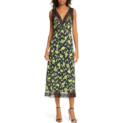 Dvf Issey Lace Detail Sleeveless Silk Midi Dress, Green