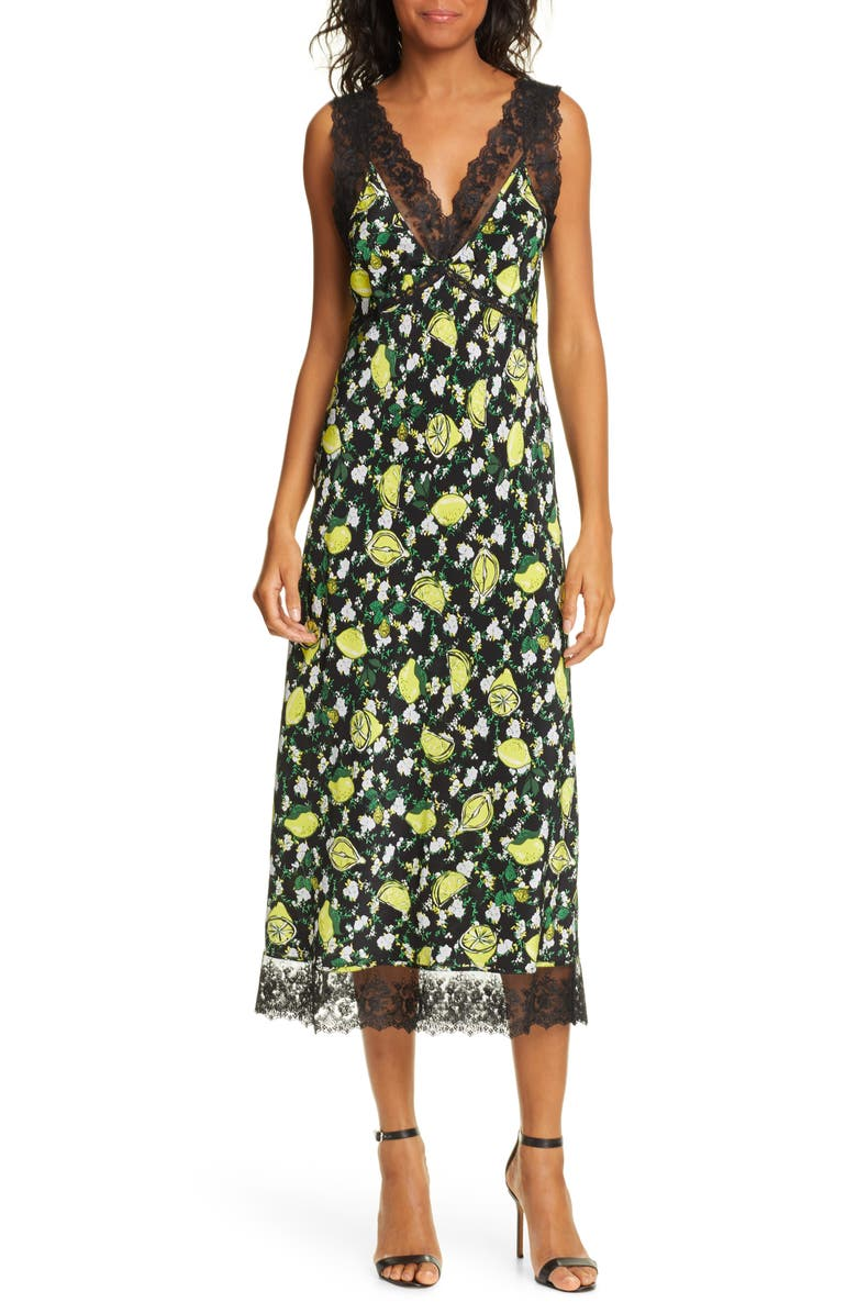 DVF Issey Lace Detail Sleeveless Silk Midi Dress, Main, color, LEMONS COLLAGE BLACK