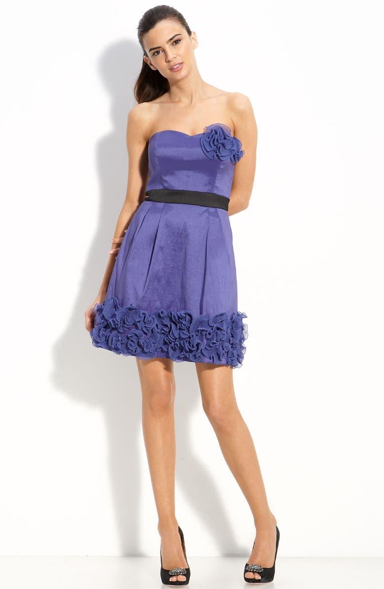MAX & CLEO Ruffled Trim Strapless Taffeta Dress, Main, color, 481
