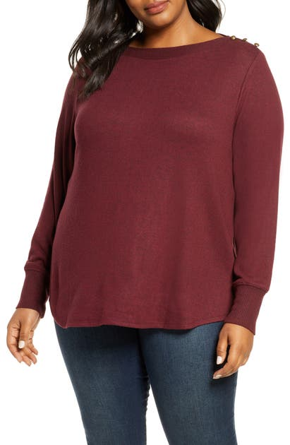 Bobeau Sweaters COZY BUTTON DETAIL BRUSHED SWEATER
