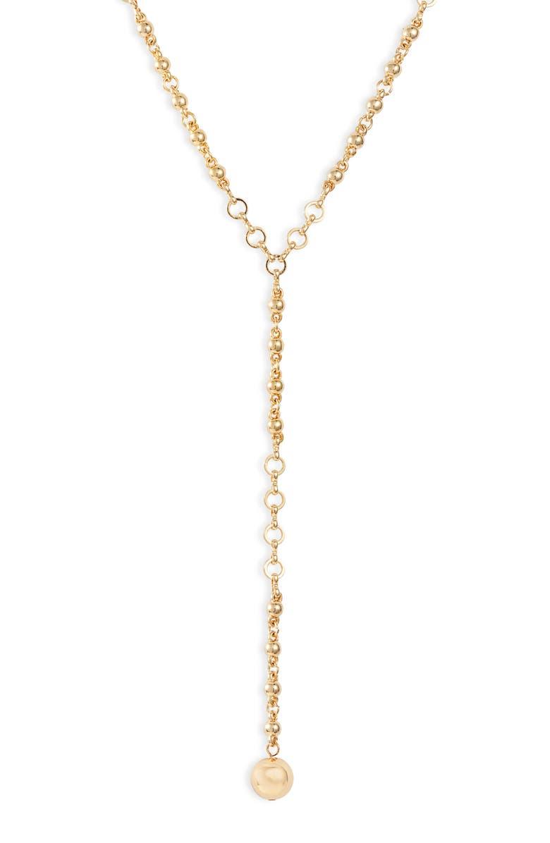ETTIKA Ball Chain Lariat Necklace, Main, color, GOLD
