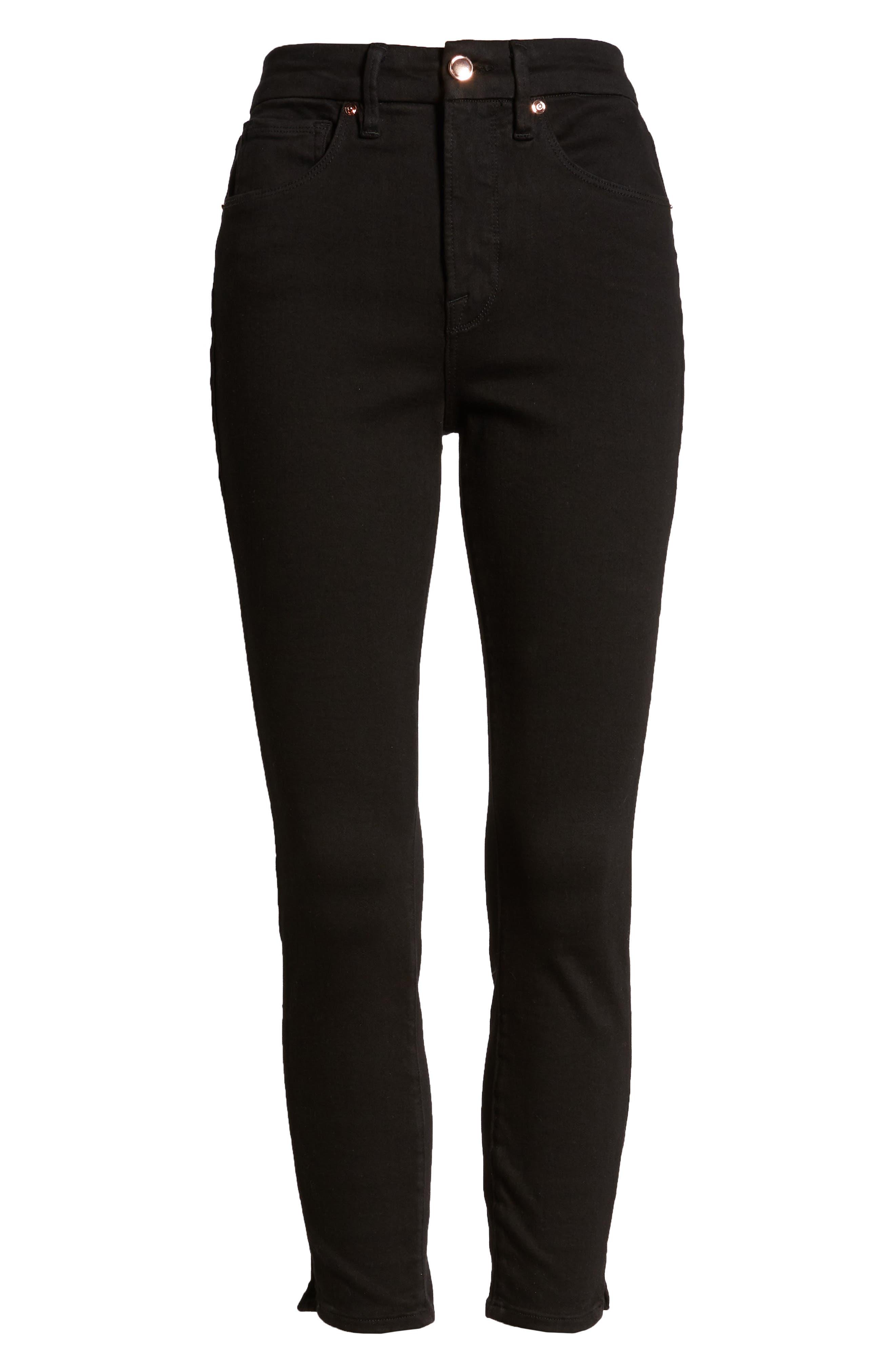 ,                             Good Legs Split Hem Ankle Skinny Jeans,                             Alternate thumbnail 9, color,                             BLACK001