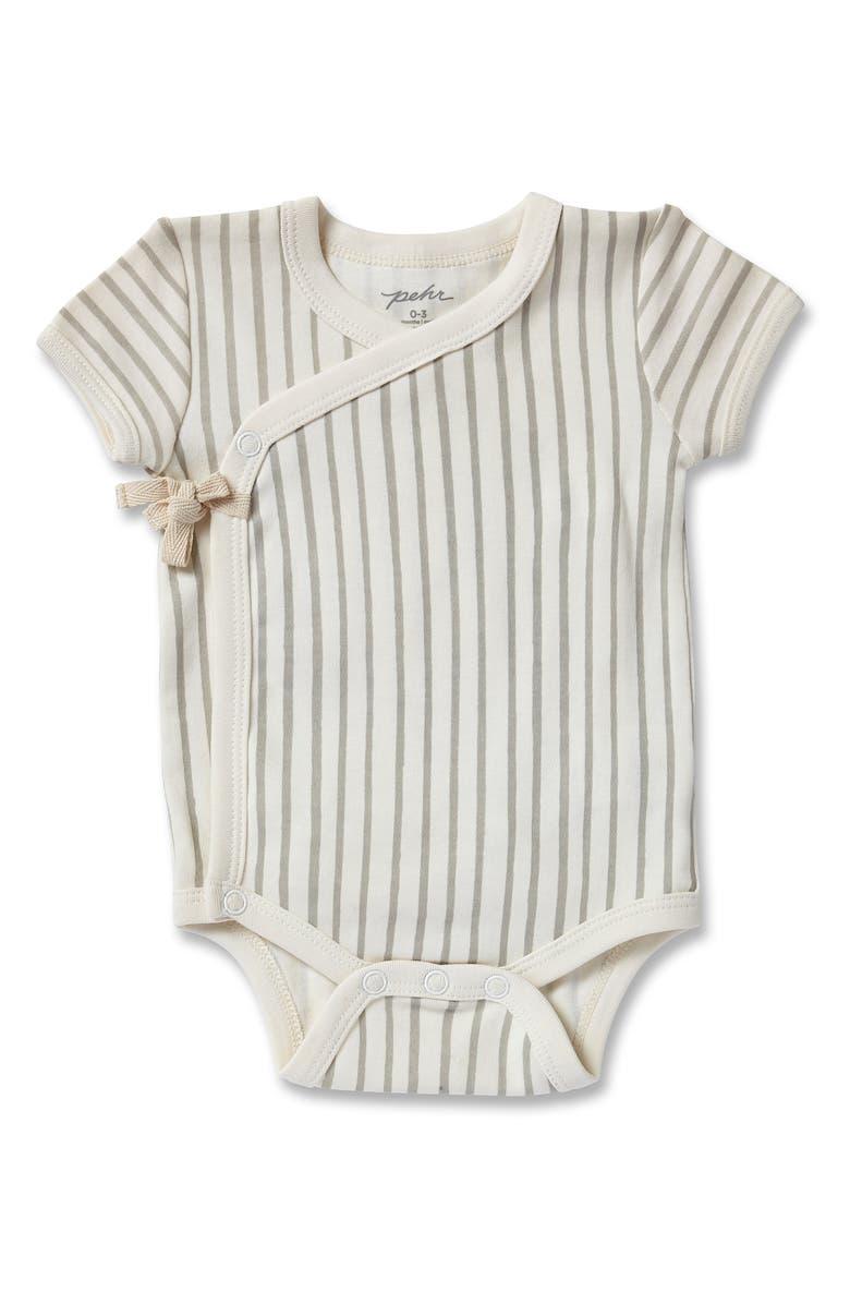 PEHR Stripes Away Organic Cotton Wrap Bodysuit, Main, color, PEBBLE