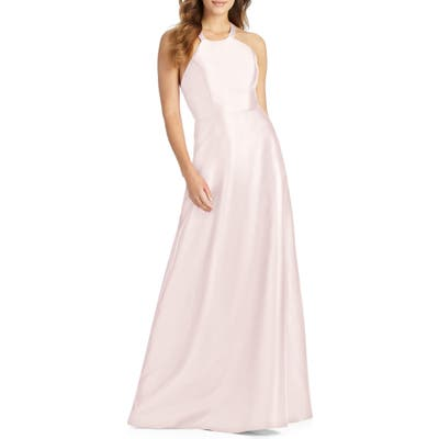 Alfred Sung Lace-Up Back Sateen Twill Gown, Pink