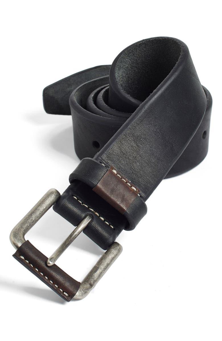 JOHNSTON & MURPHY Leather Belt, Main, color, 001