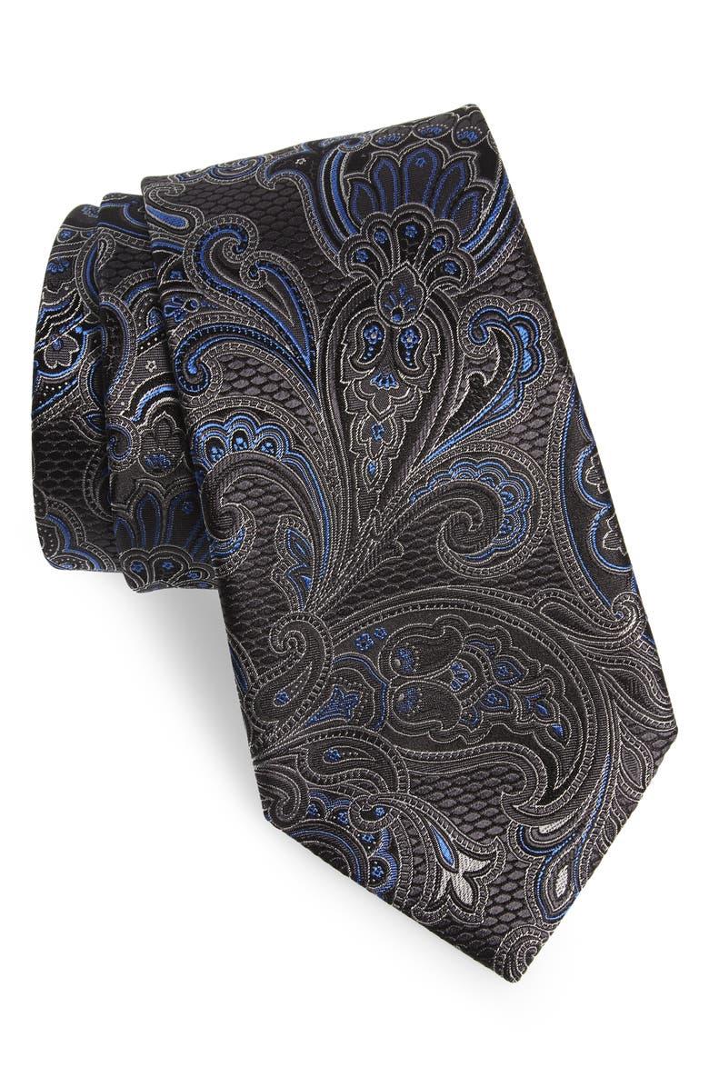 ERMENEGILDO ZEGNA Paisley Silk Tie, Main, color, NAVY
