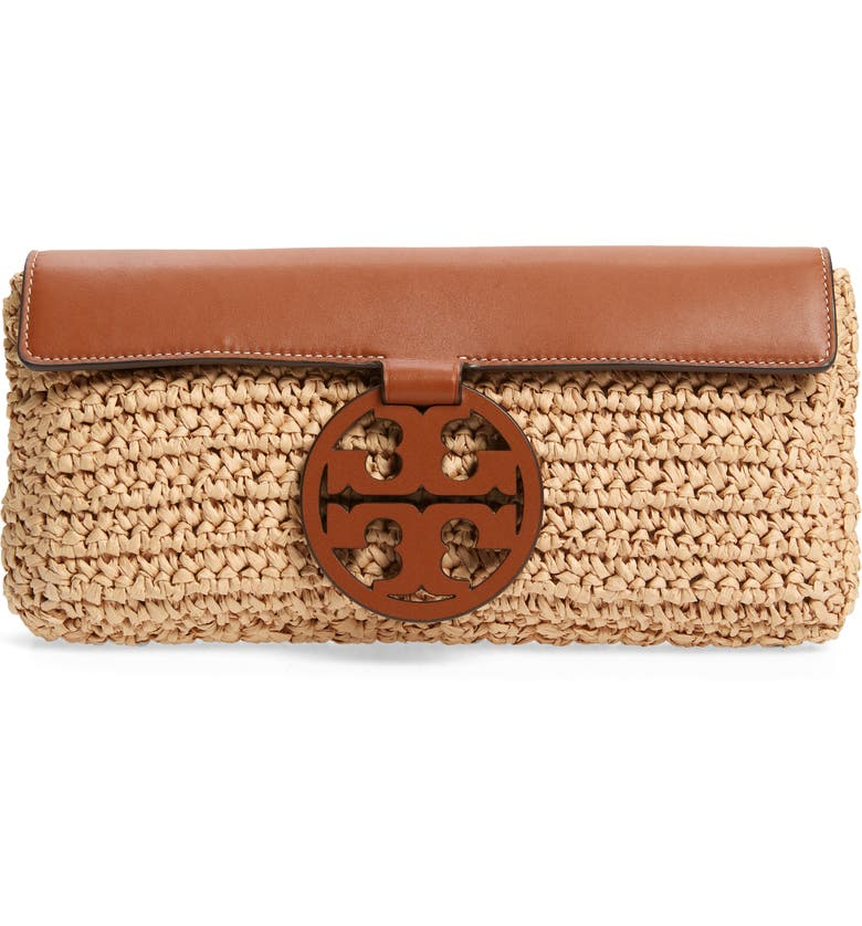TORY BURCH Miller Woven Straw Clutch, Main, color, NATURAL