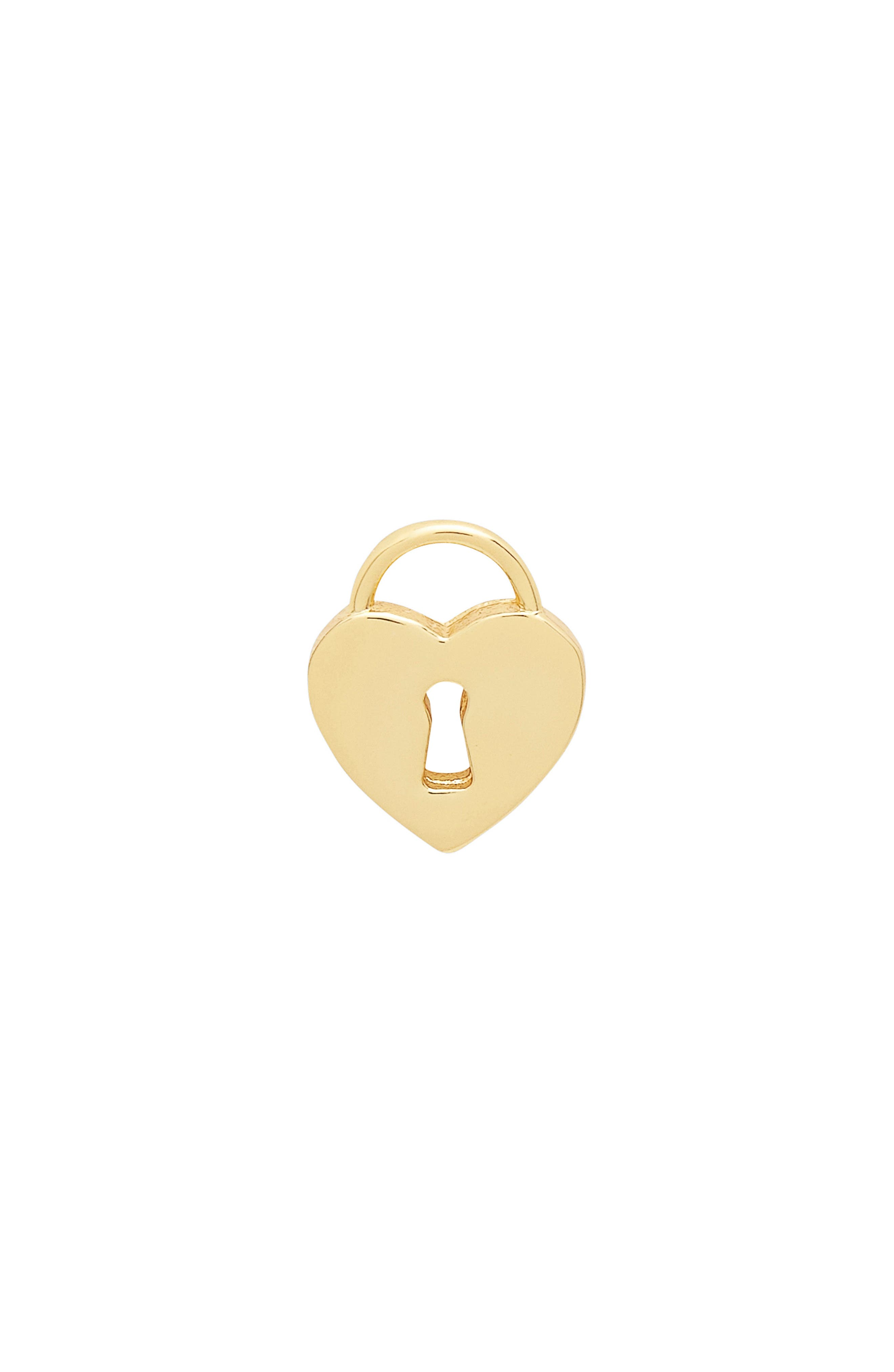 Single Heart Lock Stud Earring