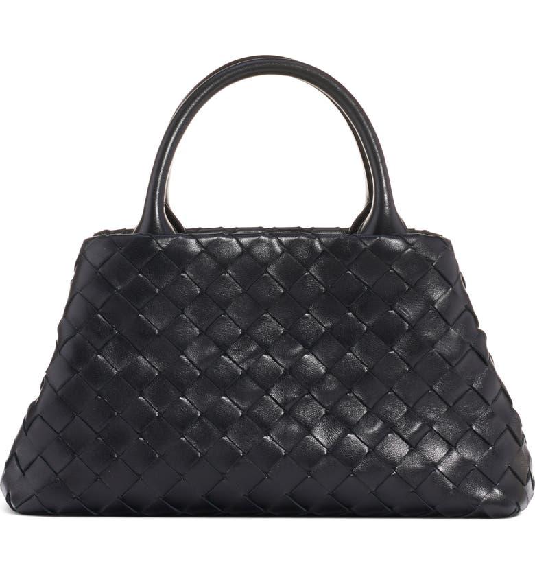 BOTTEGA VENETA Mini Intrecciato Leather Double Handle Tote Bag, Main, color, NERO/ SILVER