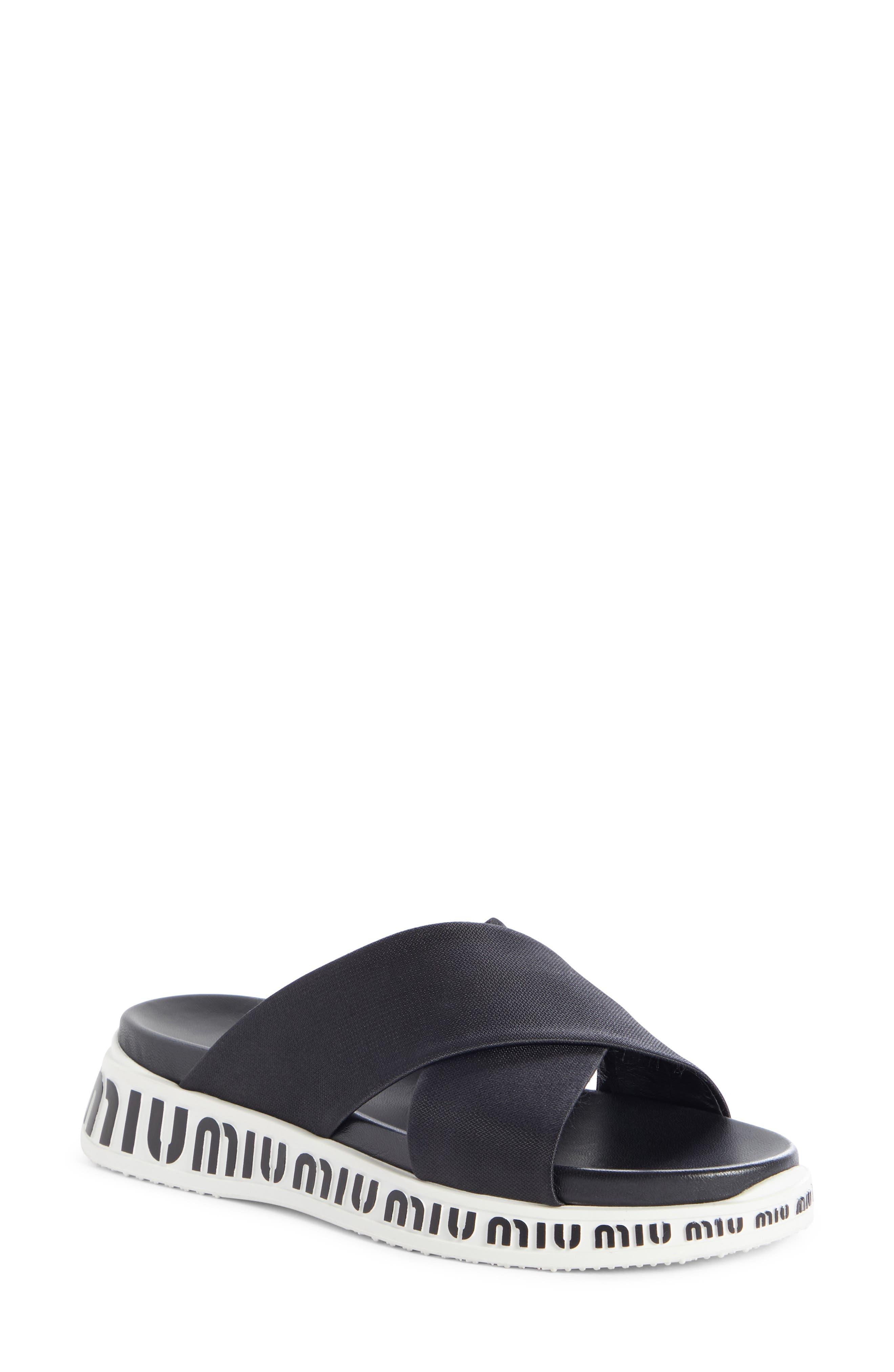 Miu Miu Run Logo Slide Sandal - Black