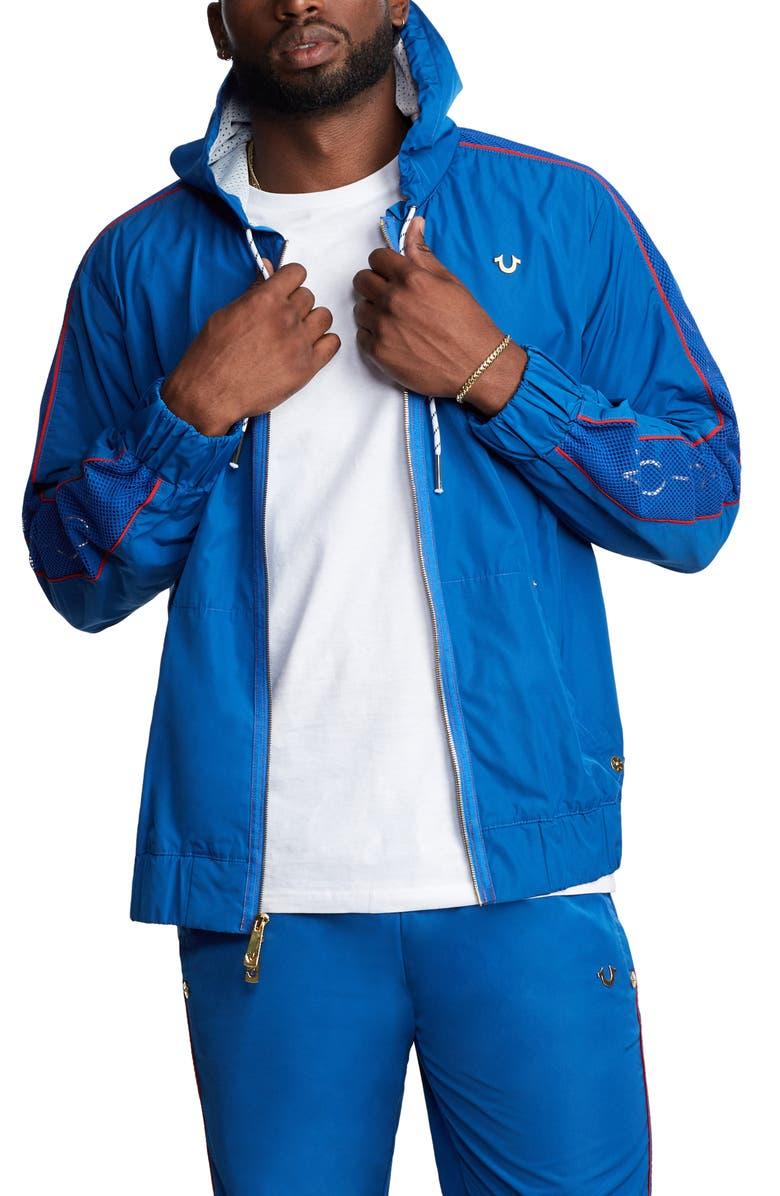 TRUE RELIGION BRAND JEANS Hooded Track Jacket, Main, color, BERMUDA BLUE