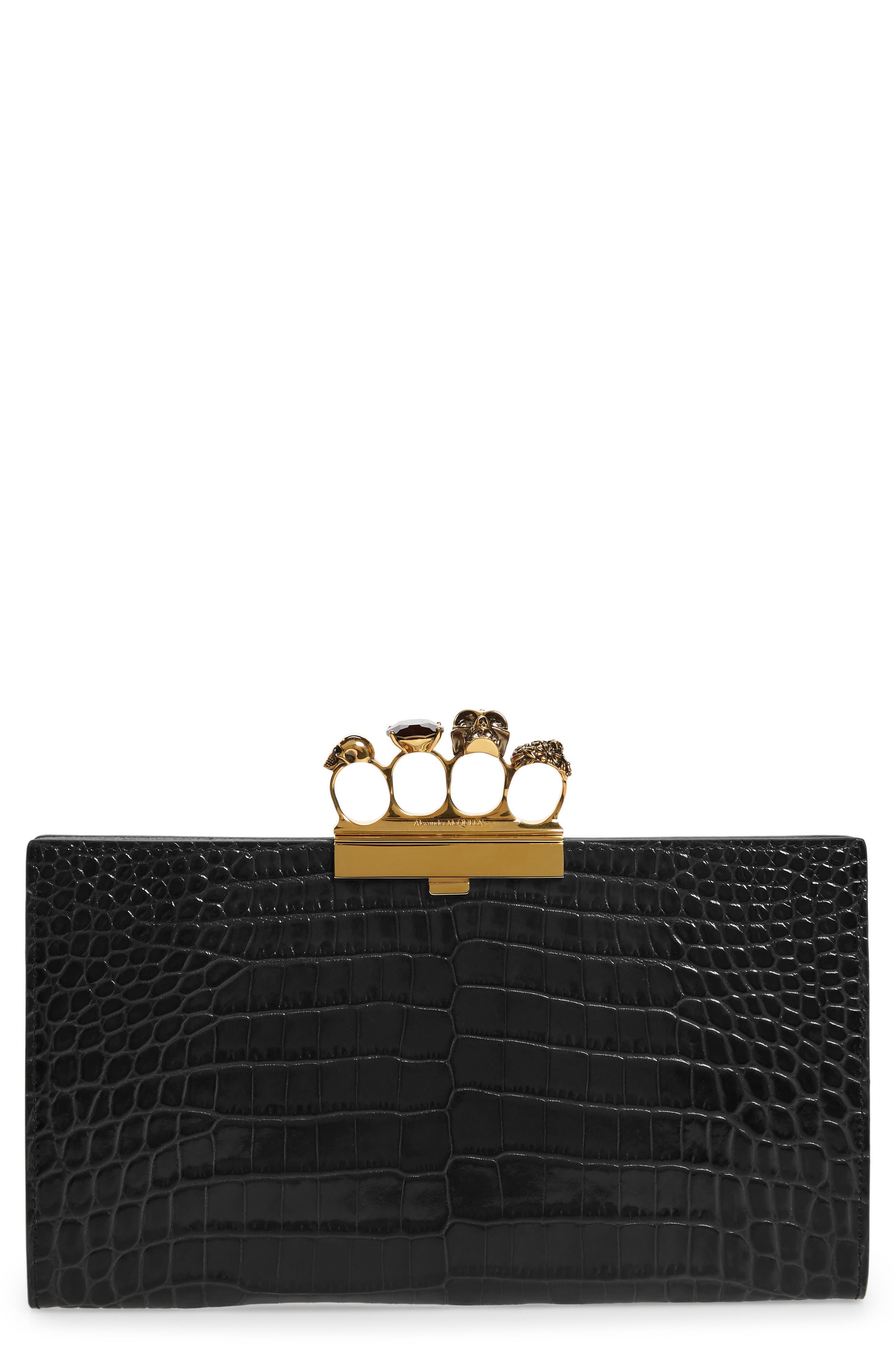Alexander McQueen Croc Embossed Leather Knuckle Clutch | Nordstrom